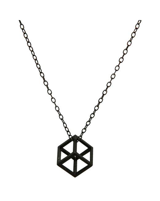 Stephanie Bates | Black Oxidised Silver Cube Pendant | Lyst