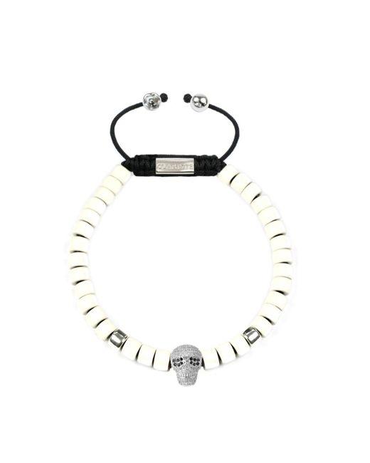 CLARISTE JEWELRY | Multicolor Men's Ceramic Bead Bracelet White With Silver Skull for Men | Lyst