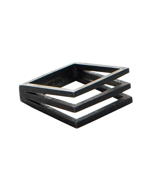 Stephanie Bates | Black Oxidised Silver Split Panel Ring | Lyst