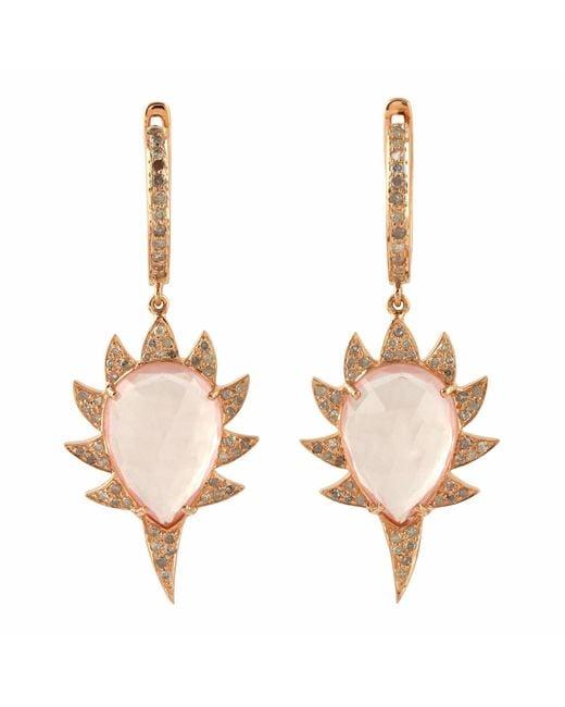 Meghna Jewels - Multicolor Claw Drop Earrings Rose Quartz & Diamonds - Lyst