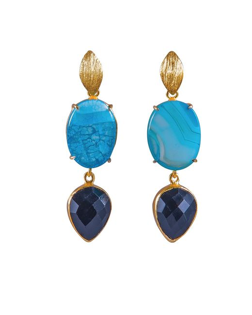 Magpie Rose   Blue Agate & Black Onyx Cocktail Earrings   Lyst