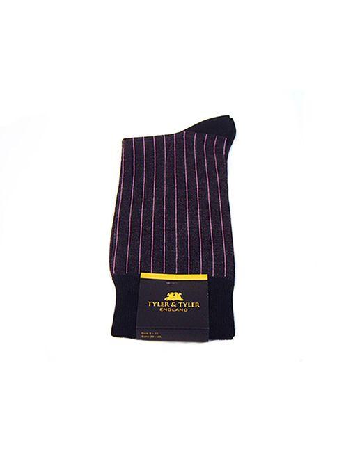 Tyler And Tyler | Pinstripe Purple & Black Socks for Men | Lyst