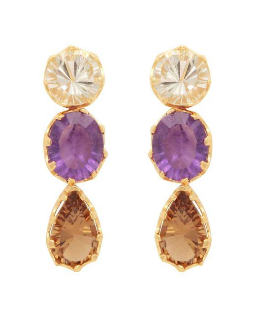 Carousel Jewels | Metallic Stones Trio Dangle Earrings | Lyst