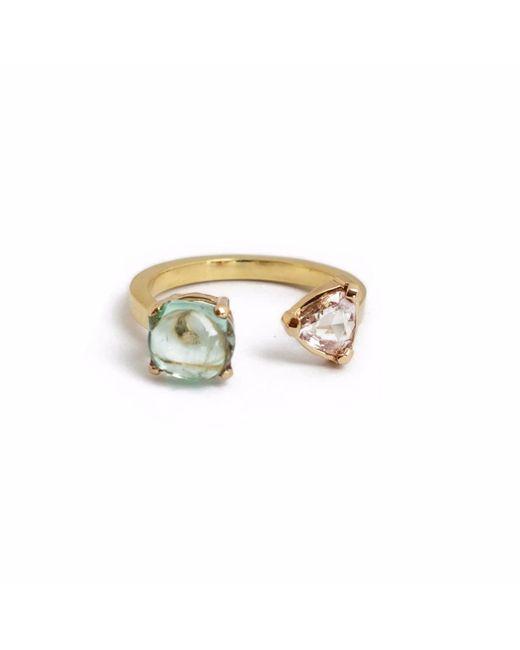 Ri Noor - Metallic Emerald Nugget With Trillion Diamond Ring - Lyst
