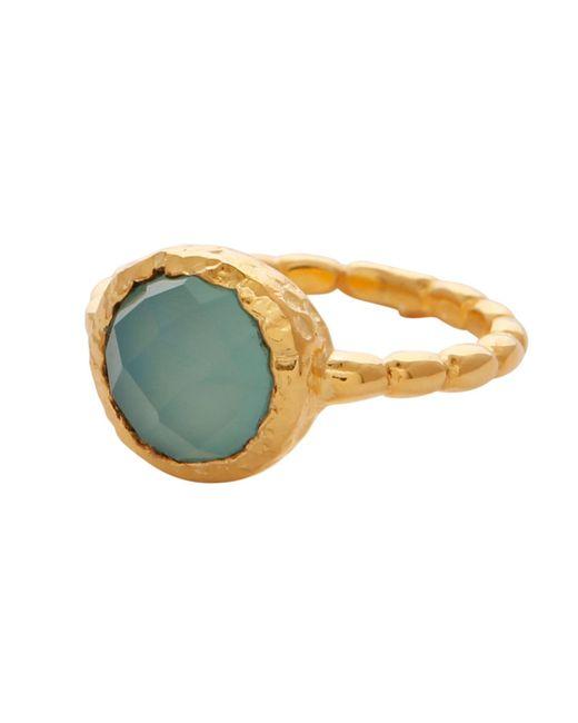 Carousel Jewels - Metallic Aqua Chalcedony Gold Textured Ring - Lyst