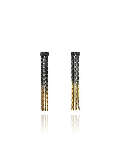 Cara Tonkin | Metallic Vesper Tube Link Earring Oxidised Silver & Gold | Lyst