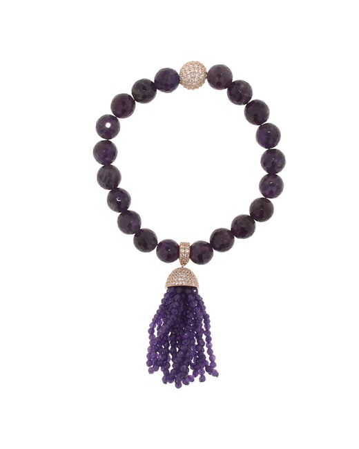 Cosanuova - Metallic Amethyst Tassel Bracelet - Lyst