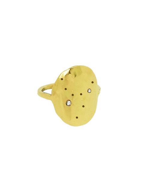 Yvonne Henderson Jewellery Metallic Aquarius Constellation Ring With White Sapphires Gold