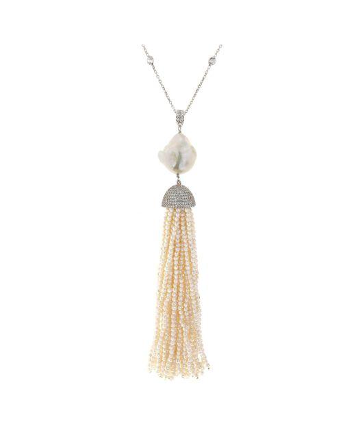 Cosanuova - Metallic Sterling Silver Pearl Baroque Tassel Necklace - Lyst