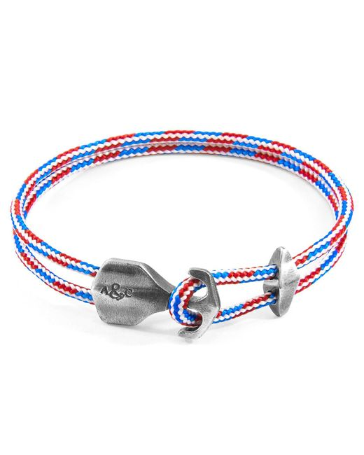 Anchor & Crew - Project Rwb Red White & Blue Delta Anchor Silver & Rope Bracelet for Men - Lyst