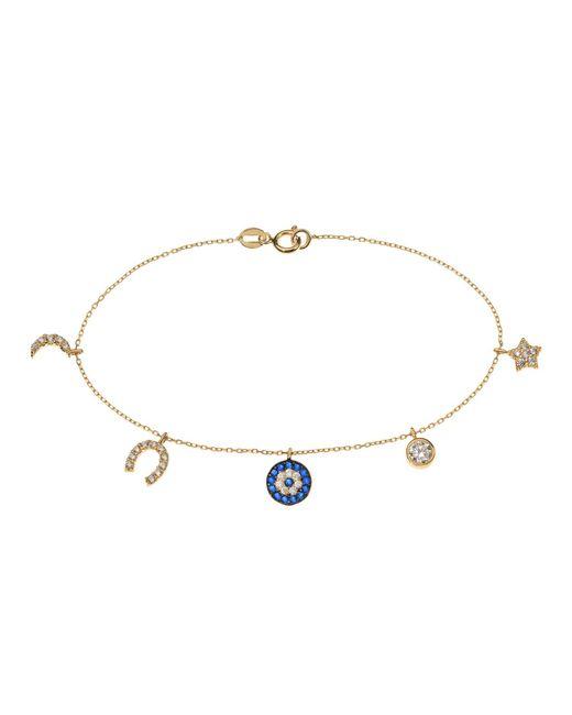 Talia Naomi | Metallic See No Evil Charm Bracelet Gold | Lyst
