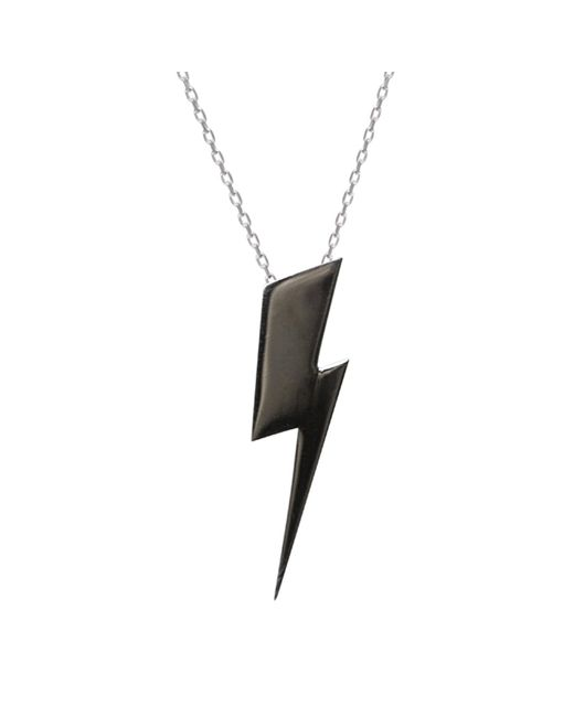 Edge Only - Flat Top Lightning Bolt Pendant Black Long - Lyst