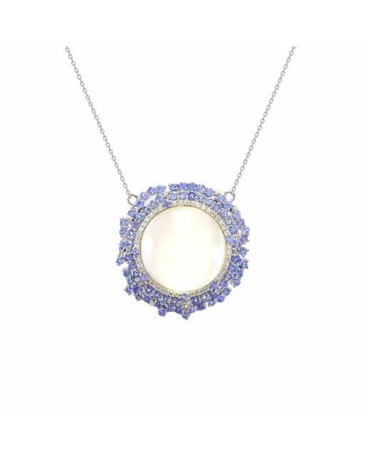 Ri Noor - Blue Pendant With Diamonds - Lyst