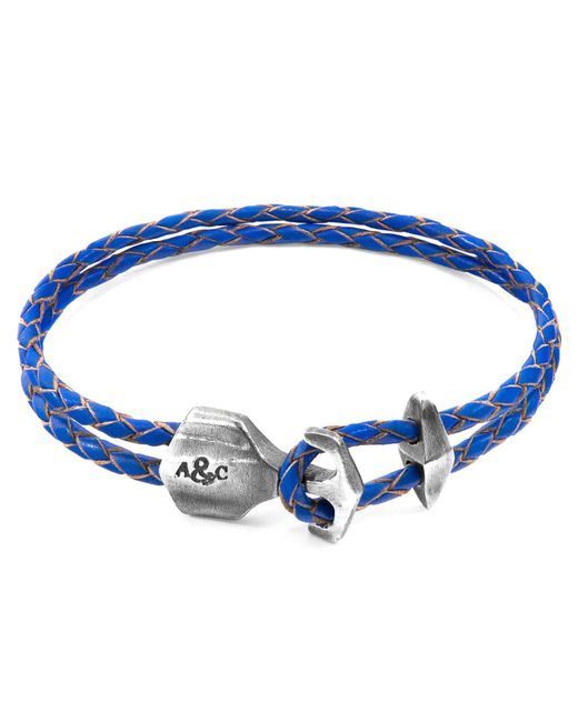 Anchor & Crew - Royal Blue Delta Anchor Silver & Braided Leather Bracelet for Men - Lyst