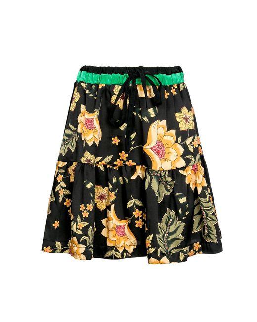 Naftul Multicolor Boho Floral Print Mini Skirt, Elastic Waist Tiered Ruffle Summer Skirt .