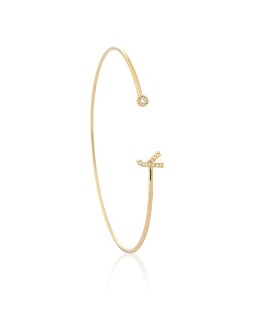 Astrid & Miyu | Metallic Gold Initial Y Bangle | Lyst
