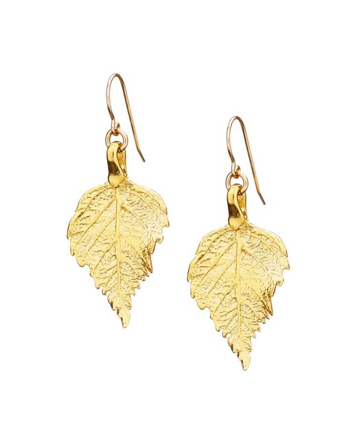 Chupi | Metallic Tiny Raspberry Leaf Earrings Gold | Lyst