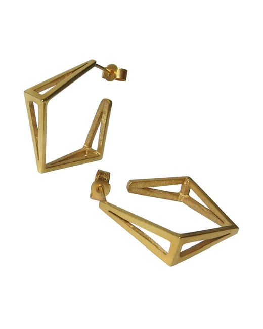 Stephanie Bates | Metallic Med Gold Kite Hoop Earrings | Lyst