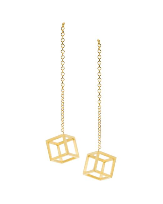 Stephanie Bates | Metallic Gold Cube Drop Earrings | Lyst