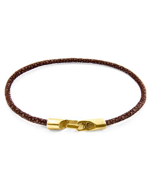 Anchor & Crew - Multicolor Mocha Brown Talbot Yellow Gold & Stingray Leather Bracelet for Men - Lyst