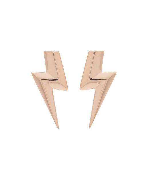 Edge Only | Metallic 3d Flat Top Lightning Bolt Earrings Gold | Lyst