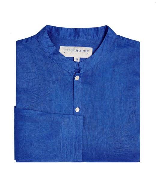 Pink House Mustique Men's Collarless Linen Shirt In Dazzling Blue for men