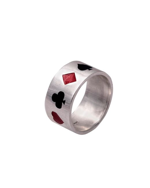 Edge Only | Metallic Poker Ring Enamelled Silver for Men | Lyst