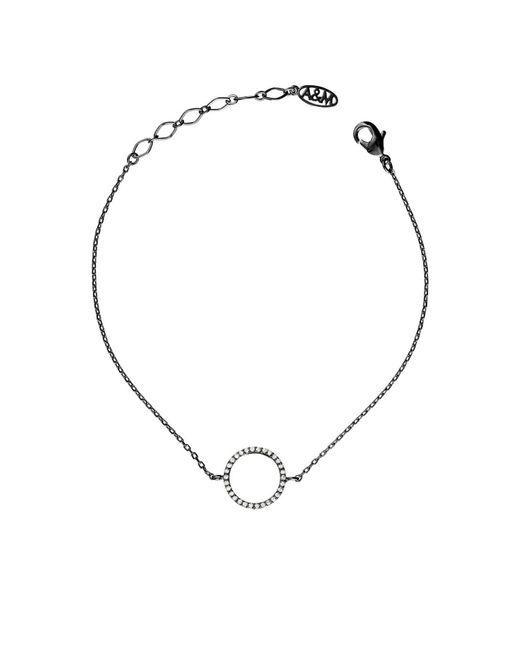 Astrid & Miyu - Metallic Tuxedo Circle Bracelet In Gunmetal - Lyst
