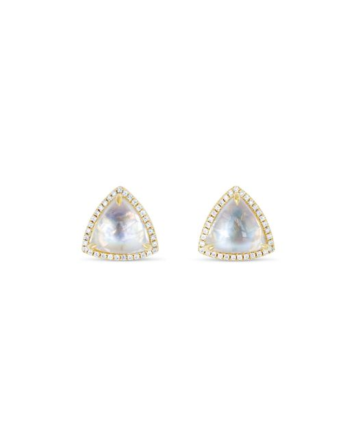 Ri Noor Metallic Trillion Moonstone & Diamond Stud Earrings