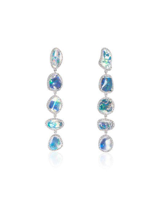 Ri Noor Blue Ice Drops Linear Clear Fire Opal & Diamond Earrings