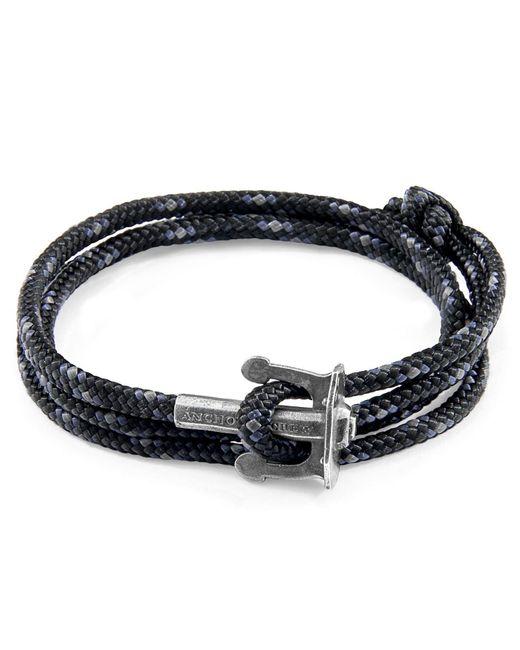 Anchor & Crew - Metallic Black Union Anchor Silver & Rope Bracelet for Men - Lyst