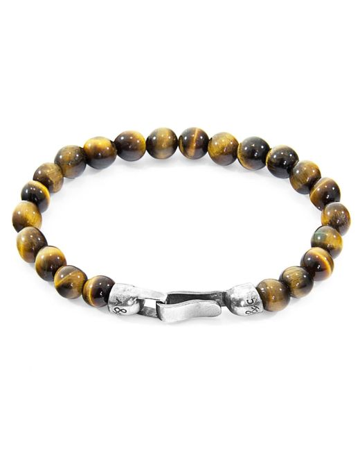 Anchor & Crew - Multicolor Silver & Brown Tigers Eye Stone Outrigger Bracelet for Men - Lyst