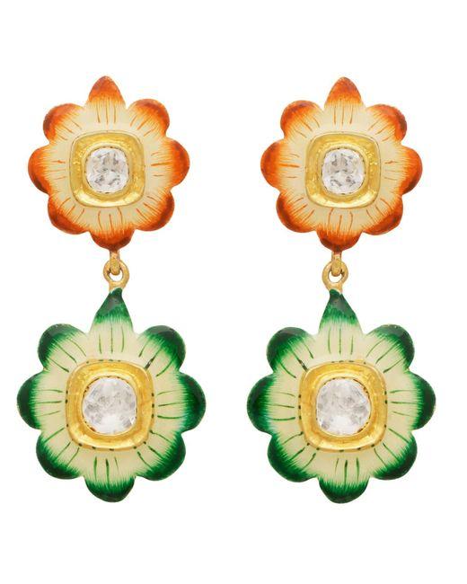 Carousel Jewels Metallic Orange & Green Floral Enamel Earrings
