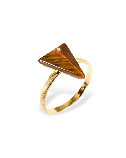 Ona Chan Jewelry | Metallic Triangle Ring With Tiger's Eye & Swarovski | Lyst