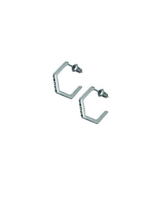 Tada & Toy | Crystallised Hexagon Hoops Black | Lyst