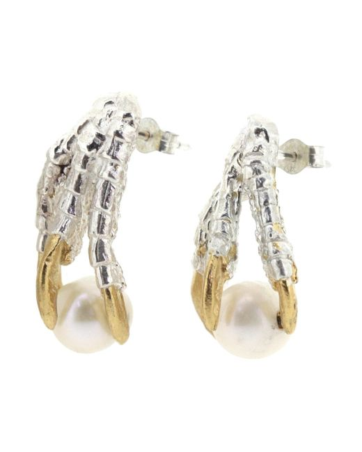 Tessa Metcalfe | Metallic Pearl Of London Earrings Silver | Lyst