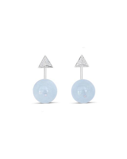 Ri Noor - Blue Pyramid & Ball Aquamarine Earrings - Lyst