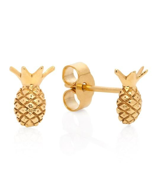 Lee Renee - Metallic Pineapple Stud Earrings - Lyst