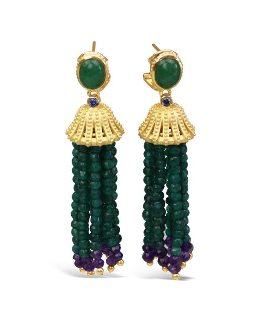 Bellus Domina Sterling Silver Green Agate Tassel Earrings