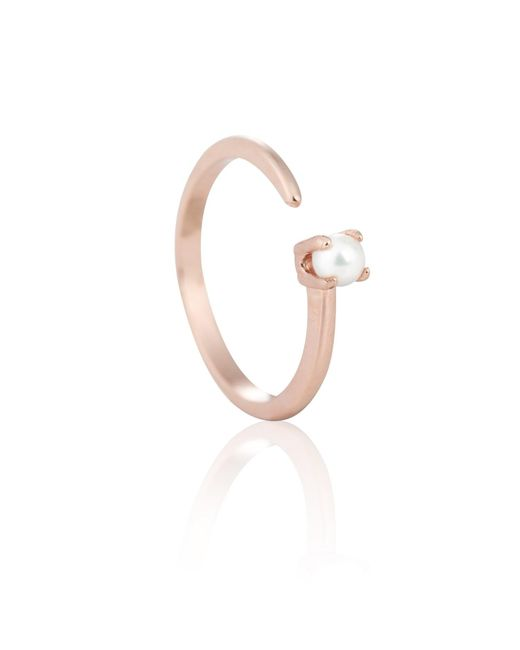 Astrid & Miyu | Metallic Chase Me Pearl Ring In Rose Gold | Lyst
