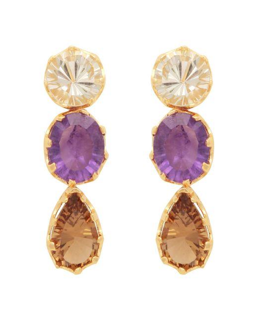Carousel Jewels - Metallic Stones Trio Dangle Earrings - Lyst