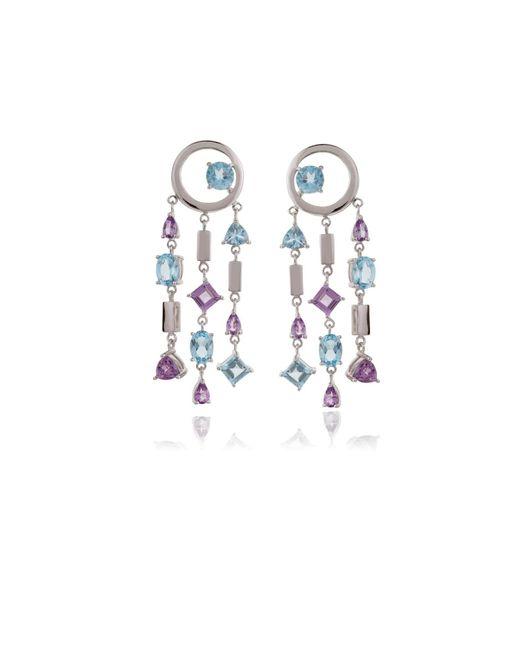 Manja   Selatra Blue Topaz & Amethyst Chandelier Earrings   Lyst