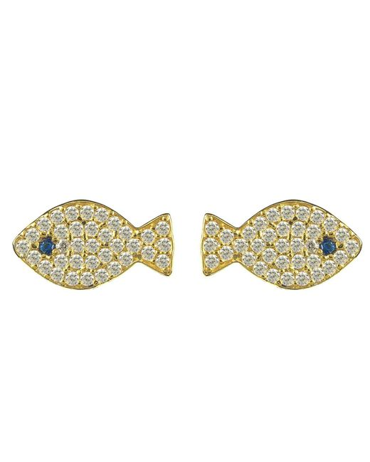 Latelita London | Metallic Fish Earring Gold | Lyst