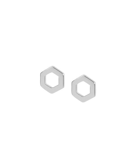 Matthew Calvin - Metallic Hexagon Studs Silver - Lyst