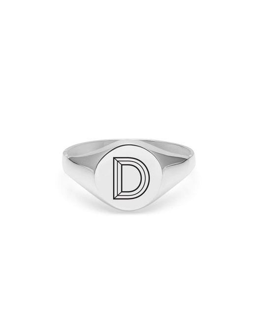 Myia Bonner   Metallic Silver D Facett Initial Signet Ring   Lyst