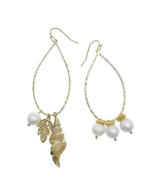 Farra White Freshwater Pearls & Shell Dangle Asymmetrical Earrings
