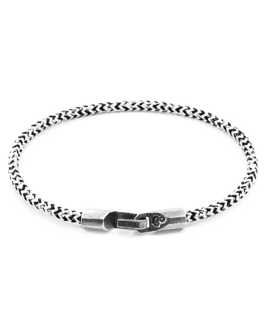 Anchor & Crew - Metallic White Noir Talbot Silver & Rope Bracelet for Men - Lyst