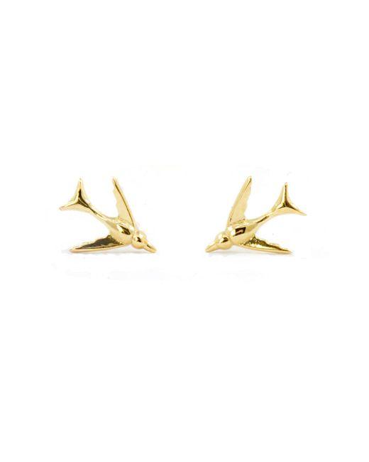 Lee Renee | Metallic Tiny Swallow Stud Earrings Gold Vermeil | Lyst