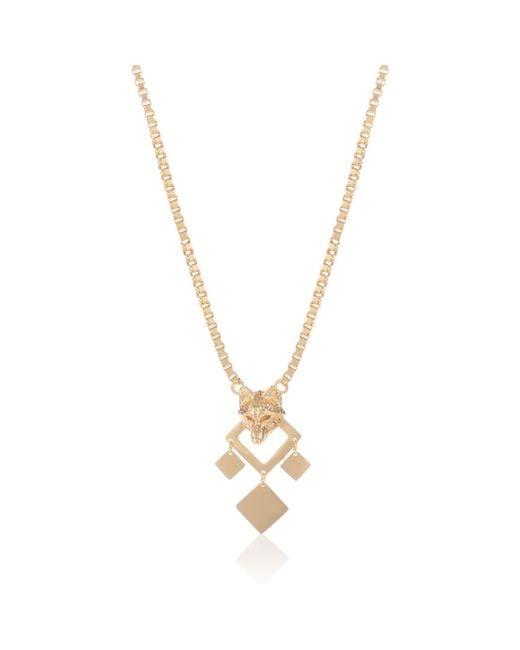 Alexa K - Metallic 18kt Gold Plated Bronze Single Chain Night Wolf Long Necklace - Lyst