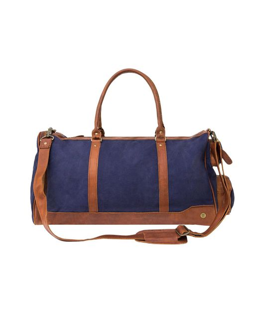 MAHI Leather - Canvas Leather Columbus Holdall Bag In Navy Blue for Men - Lyst